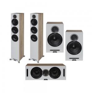 Elac Debut Reference DFR52 System 5.0 Speaker Package White/Oak Wood