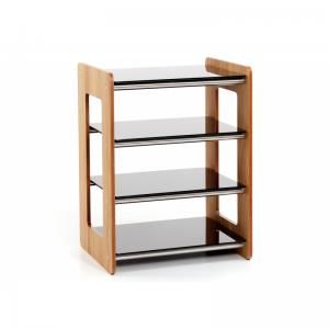 Custom Design Concept 400 Hi-Fi Wood Oak With Brushed Chrome Cross Bars and Black Glass